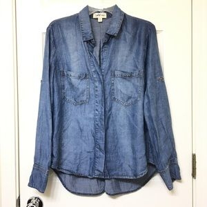 Anthropologie Cloth and Stone Chambray Split Back